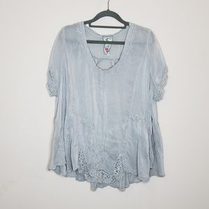 Johnny Was Embroidered Short Sleeve Blouse Large